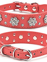 cheap -dog leather pu collar,bling flower studded rhinestone dogs collars,adjustable buckle pet necklace collar,for small medium pets,red xs fba