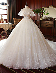 cheap -Princess Ball Gown Wedding Dresses Off Shoulder Watteau Train Lace Tulle Short Sleeve Formal Romantic Luxurious with Pleats Appliques 2020