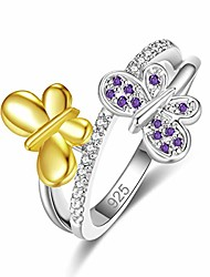cheap -925 sterling silver created amethyst filled cute butterfly ring for women size 8