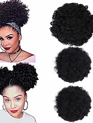 cheap -1pack afro puff drawstring ponytail human hair short afro kinkys curly afro bun extension hairpieces black updo hair extensions(1b#)