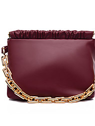 cheap -Women's Bags PU Leather Top Handle Bag Dome Bag Chain Plain Daily Going out 2021 Handbags Chain Bag Black Red Green Brown