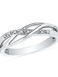 cheap -sterling silver round diamond twisted fashion ring (0.05 cttw), size: 5.5