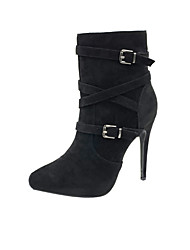cheap -Women's Boots Stiletto Heel Pointed Toe Booties Ankle Boots Business Daily Walking Shoes Nubuck Buckle Solid Colored Almond Black / Mid-Calf Boots