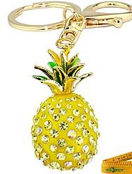 cheap -cute fashion 3d cubic graven pineapple shaped rhinestone alloy metal car bag phone purse keychain pendent decoration gift (yellow)
