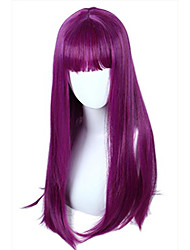 cheap -women's long straight purple wig with bangs (adult)