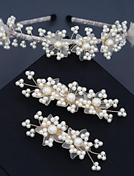 cheap -Headband Vintage Imitation Pearl / Alloy Headbands / Hair Clip with Imitation Pearl / Split Joint / Ruffle 3 Pieces Wedding / Party / Evening Headpiece
