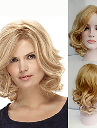 cheap -Synthetic Wig Curly Curly Bob With Bangs Wig Blonde Medium Length Blonde Synthetic Hair Women's Side Part Blonde