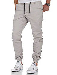 cheap -men's stretch jogger basic chino jeans trousers cargo 7002 light gray w32