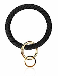 cheap -silicone bangle key ring bracelet key rings, round keyring circle key ring holder for women girls ideal gifts (t-black 2)