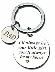 cheap -birthday keychain gift for dad or mom from dughter metal keyring for men women him (i'll always be your little girl)