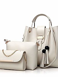 cheap -women handbag+shoulder bag+purse 3pcs set tote handbag soft pu leather handbag white