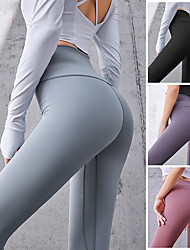 cheap -Women's High Waist Running Tights Leggings Athletic Base Layer Bottoms with Phone Pocket Winter Gym Workout Running Jogging Training Exercise Tummy Control Butt Lift Breathable Sport Solid Colored
