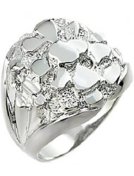cheap -men's 925 sterling silver nugget band ring (size 9.75)