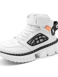 cheap -Men's Loafers & Slip-Ons Daily Running Shoes Walking Shoes PU Non-slipping Black and White White Black Fall Spring