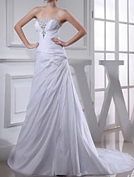 cheap -Sheath / Column Wedding Dresses Strapless Court Train Satin Sleeveless Formal with Beading 2021