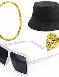 cheap -80s/90s hip hop costume kit cool rapper outfits,bucket hat sunglasses gold plated chain (t)