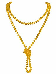 cheap -fashion glass beads rope knot long necklace for women (xl-1030-ginger)