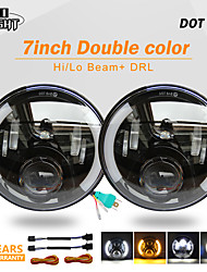 cheap -2 Pcs 7 Inch Headlight 80W Amber Angel Eyes H4 Hi Lo Daytime Running Lights for Lada Niva Uaz Car Accessories