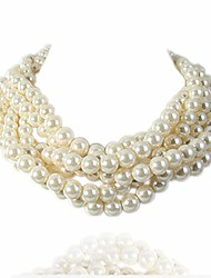 cheap -simulated pearl white beads cluster statement chunky bib short choker necklace 16 17 18 inch