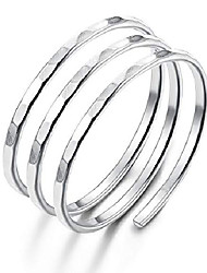cheap -925 sterling silver knuckle rings for women mens thumb ring stackable wire wrap ring open adjustable sizes 7-9 silver tone