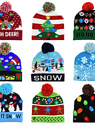 cheap -LED Christmas Hat Sweater Knitted Beanie Christmas Light Up Knitted Hat Christmas Gift for Kids Xmas 2021 New Year Decorations