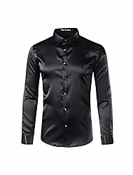 cheap -silk satin shirt men 2019 casual long sleeve slim fit mens dress shirts business wedding male shirt,black,asian size xxl