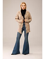 cheap -Women's Cardigan Tassel Pocket Knitted Solid Color Stylish Acrylic Fibers Long Sleeve Sweater Cardigans Shirt Collar Fall Winter Gray
