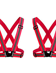 cheap -reflective vest 2 pack safety gear with high visibility adjustable straps for running, jogging, cycling, hiking, walking, multicolor optional (red)