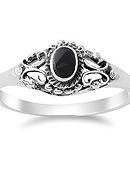 cheap -women's vintage design simulated black onyx ring new .925 sterling silver band size 9