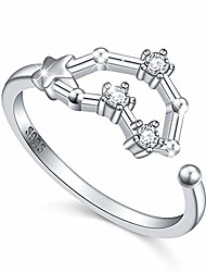cheap -925 sterling silver women cz horoscope 12 constellation astrology zodiac capricorn ring birthday gift,size 7