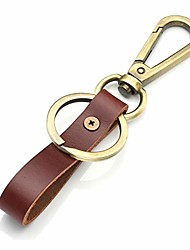 cheap -vintage leather keyring, fashion leather belt car keychain with bronze ring lobster clasp (brown)