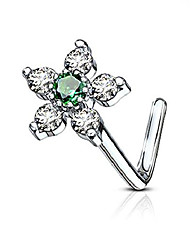 cheap -20g surgical steel l shaped nose ring with 6-cz crystal flower, green/clear