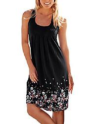 cheap -women's summer sexy sleeveless mini a-line sundress cotton short dress casual floral printed beach dress yellow