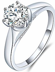 cheap -1ct 2.6mm band width f-g color classic 6-prong solitaire moissanite engagement ring with setting accents platinum plated silver for women (8)
