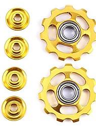 cheap -2 pcs bike 11t aluminum sealed bearing jockey wheel rear derailleur pulleys (yellow)