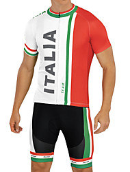 cheap -21Grams Men's Short Sleeve Cycling Jersey with Bib Shorts Red and White Italy National Flag Bike Breathable Quick Dry Anatomic Design Moisture Wicking Sports Italy Mountain Bike MTB Road Bike Cycling