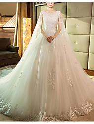 cheap -Princess Ball Gown Wedding Dresses Jewel Neck Court Train Lace Tulle Sleeveless Formal Romantic with Appliques 2020