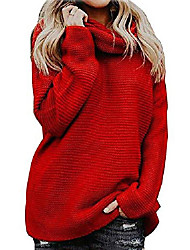 cheap -sweater ladies turtleneck knitted sweater casual knit sweater winter sweatshirt tops elegant, red, xl