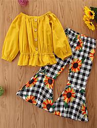 cheap -Toddler Girls' Clothing Set Solid Colored Long Sleeve Cotton Casual Yellow Basic Regular Regular