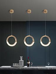 cheap -20 cm Single Design Pendant Light Ring Circle Design Nordic Gold Bedside Lamp Dining Room Metal Electroplated 220-240V