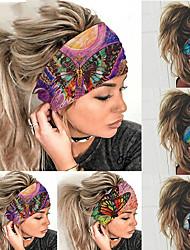 cheap -6packs Elastic Color Butterfly Sports Wide Version Headband Sweat-Absorbent Headband Ladies Headwear