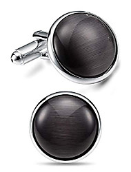 cheap -round silver gray cat eye agate mens cufflinks for men luxurious tuxedo formal shirts wedding busibess gifts box c046
