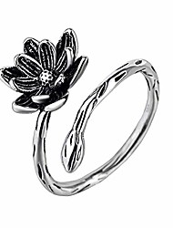 cheap -925 sterling silver flower adjustable rings for women teen girls/wrap open ring/opening ring fashion comfort fit (lotus)