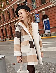 cheap -Kids Girls' Jacket & Coat Light Brown Plaid Patchwork Color Block Cotton Vintage Streetwear