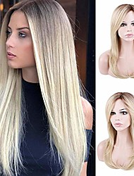cheap -natural straight ombre blonde wig brown roots heat resistant synthetic fiber hairpieces full wig with free part hair bang for women