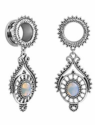 cheap -stainless steel teardrop opal wedding earrings large dangle bridal plug ear gauges stretching tapers screw fit tunnels gauge 1/2 inch(12mm)