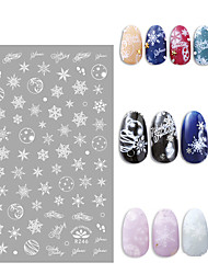 cheap -New Hot Style Color Gold Christmas White Snowflake Hot Golden Nail Decal Nail Sticker Nail Art Accessories