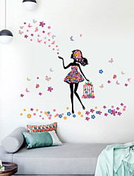 cheap -Beautiful Girl Birdcage Butterfly Flower Home Background Children Room Background Decoration Can Remove Stickers 70*25cm