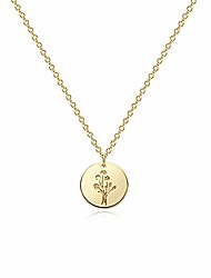 cheap -flower hand gestures pendant necklace, 14k gold plated simple funny  cute engraved coin pendant necklace for women