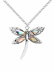 cheap -exquisite dragonfly charm bracelet abalone shell bangle cuff antique silver (necklace)